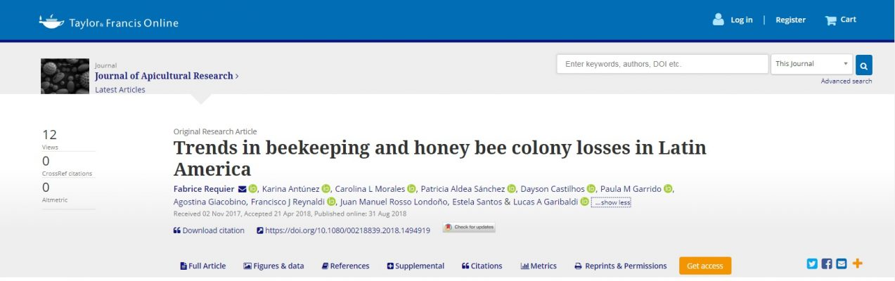 fabrice requier colony losses south america honey bee